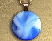 Fused Glass Pendant Jewelry - Ocean Blue - Z124