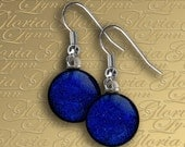 Fused Dichroic Glass Earrings - Shimmering Blue - ER453