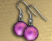 Dichroic Fused Glass Earrings - Hot Pink - ER467