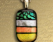 Dichroic Fused Glass Pendant Jewelry, Dichroic Pendant, Omega Slide Pendant - Stripes Of Color - LB81