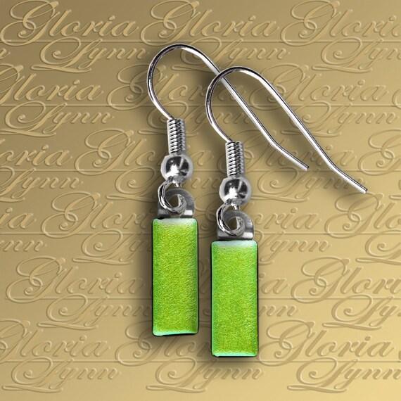 Fused Dichroic Glass Earrings - Green Itty Bitty - ER444