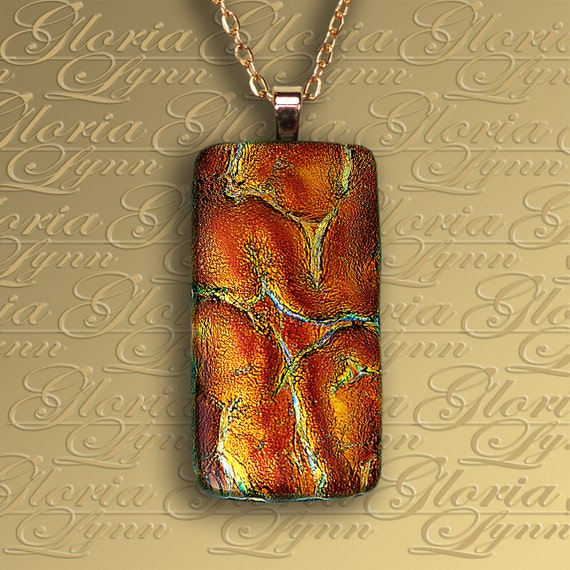 Fused Dichroic Glass Pendant  Jewelry - Too Hot To Handle - R135