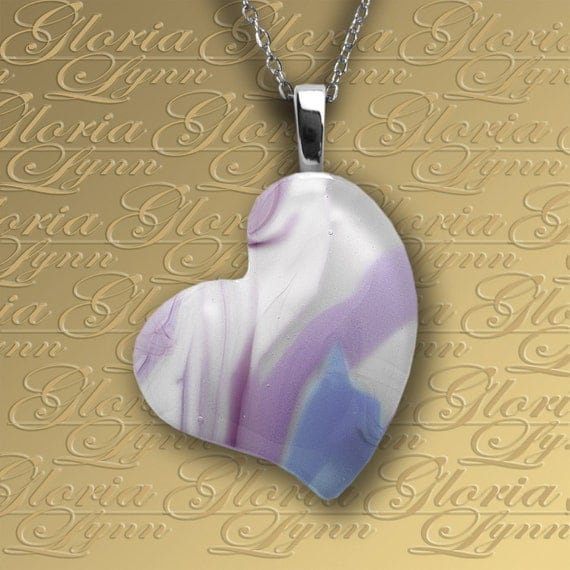 Fused Glass Heart Pendant Jewelry - Purple Passion - LB174