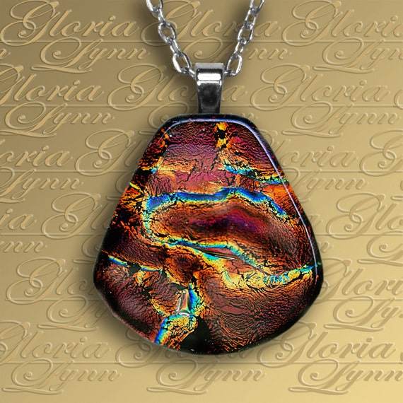 Fused Dichroic Glass Pendant Jewelry, Fused Glass Pendant - Indian Paintbrush - F139