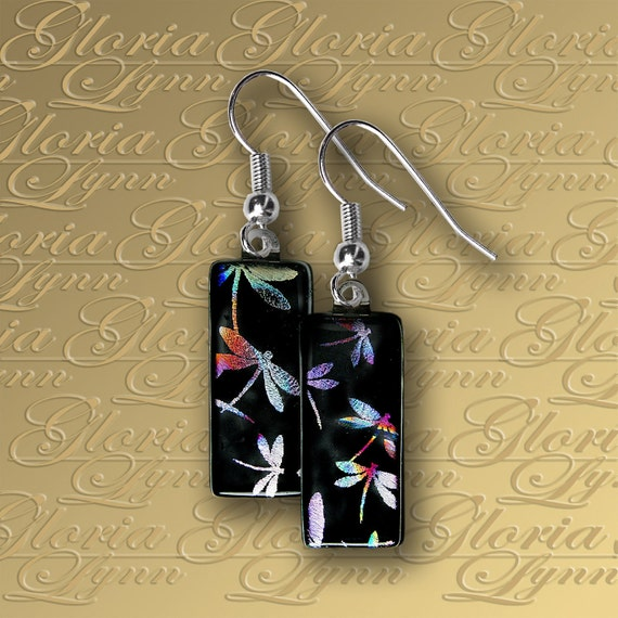 Fused Dichroic Glass Earrings - Flight Of The Dragonflies - ER433