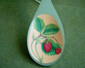 Kitchen Spoon With Strawberries, Strawberry Design On Wood, Painted Strawberries, Nature Painting Of Strawberries, Kitchen Decor