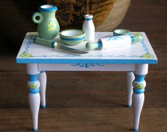 Miniature Farm Table, Small Painted Wooden Table, Little Table With Baking Equipment