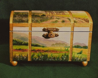 Landscape Jewelry Box, Painted Scenes Jewelry Box, Trees and Grass Painted On A Box, Four Views On A Jewelry Box