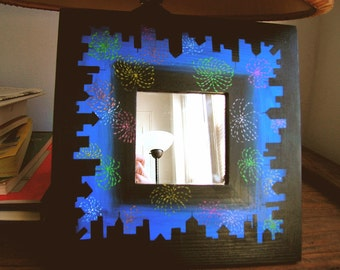 Cityscape Hand Painted Mirror, Fireworks Mirror, Night Time Wall Mirror, Square Mirror
