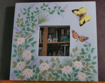 Butterfly Mirror With White Flowers, Hand Painted Mirror, Square Wooden Mirror, Spring Time Mirror, Mirror With Flowers