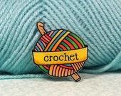 Crochet Tattoo inspired brooch pin rainbow shades - small