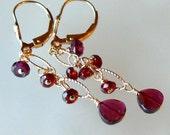 Garnet and 14K GF, gold fill, dangle earrings by NORIK