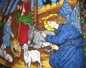 Nativity fleece  blanket 48 x 60 handstitched edges