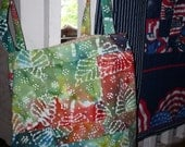 Lovely orange and green fossil print Batik  Quilted Tote bag SALE