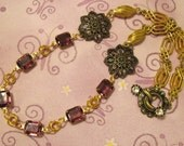 Amethyst Glass Jewel and Vintage Chain Necklace