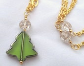 Stained Glass Christmas Tree and Gold Chains with Starry Beads Necklace