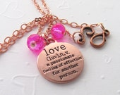 Copper Love Necklace with Fuchsia Faceted Glass