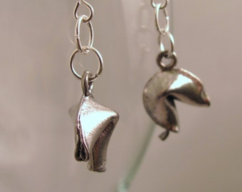 Fortune Cookie Pewter or Gold Plate Pierced Earrings