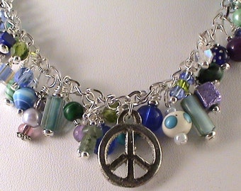 Peace Necklace Peace Sign Necklace Cool Colors Necklace Love Necklace Peace and Love Charm N Bead Necklace