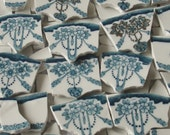 Supplies - Mosaic Tiles -  Focal Tiles- Teal - Gold- Rose Swags Tiles - Handmade - Broken China Plate Tessera