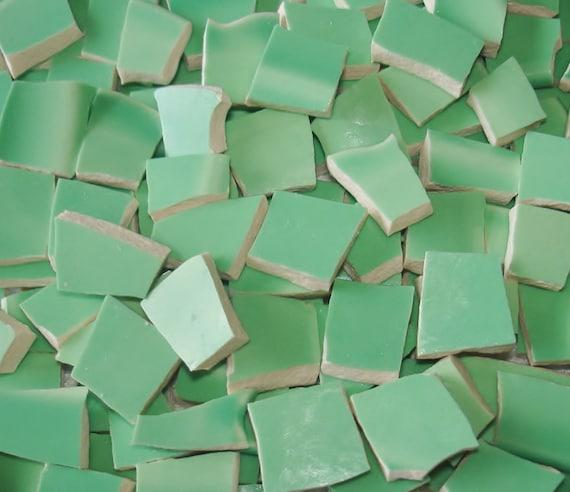 Mosaic Tiles 100 Vintage Mint Green Broken Plate Tessera
