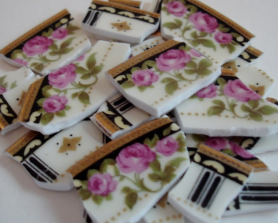 Mosaic Tiles -  China - Pink Roses - Black Strip -  Broken China Plates -Tessera