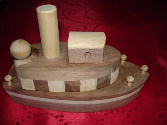 PAPAHONEYs Toys Handmade Handcrafted Childs Toy TUGBOAT Walnut Oak  Poplar Maple Toy