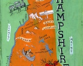 New Hampshire map print