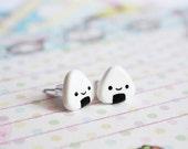 Onigiri Studs - cute polymer clay earrings, gift for her