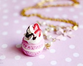 Macaron Necklace - miniature food jewelry, gift for her