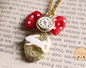 Wonderland locket - white rabbit and red bow vintage necklace
