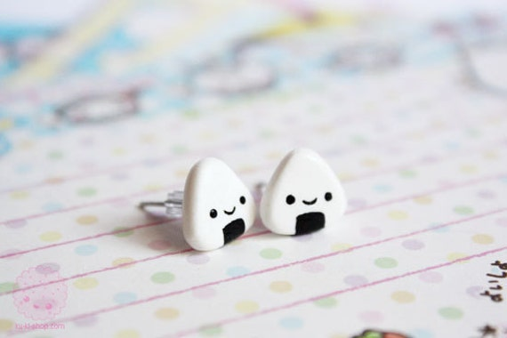 Onigiri Studs - cute polymer clay earrings, gift for her