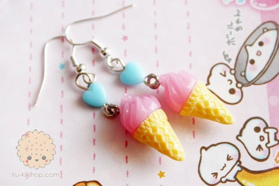 Ice cream earring - cute miniatures - cute gift for her under 15 usd 20 usd