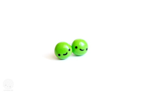 Pea Studs Earrings - cute handmade jewelry, gift for her, stocking stuffer