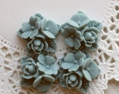 4 pcs, BELL BLUE, flower bouquet cabochon (CAF-124)