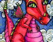Baby Dragon Fairy angel fantasy fairy art print by Christina Lynn Myers 5x7