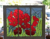 Scarlet and Periwinkle Blooms Mosaic Window  special order for tammy g