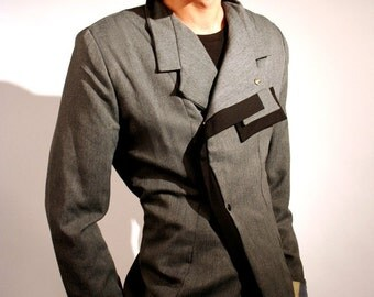 Men's grey poly cotton blazer with black placket detail