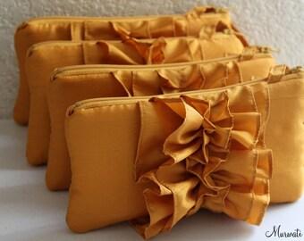 Bridal Clutch for Bridesmaids Gift in Saffron/ Turmeric gold color