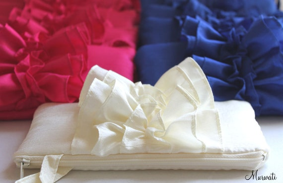 SET of 9 Bridesmaids Ruffle Clutches- Wedding Wristlet for Bridesmaid- Blue Red Ivory and More