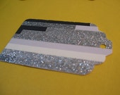 Black, Silver Glitter and White Tags Set of 12