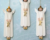 Angel Wood Christmas Ornaments - Set of 3