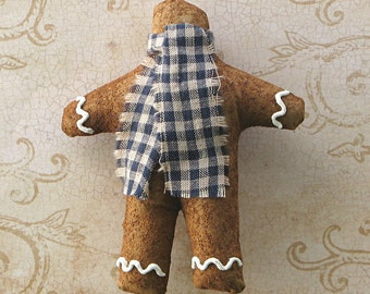 Faux Gingerbread Ornament. Cloth Christmas Ornament With Navy Checked Scarf. Primitive Folk Art Xmas Tree Decoration. Prim Ornie Tree Hanger
