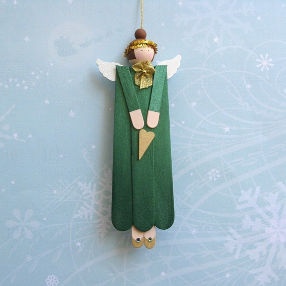 Angel Wood Christmas Ornament in Green
