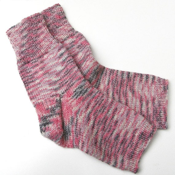 Knitting Pattern For Pedicure Socks : Pedicure Socks Hand Knit Pink Cotton Wool by BarkingDogDesigns