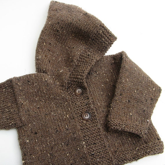 Toddler Hooded Knit Sweater . Baby Hoodie . Brown Tweed . Button Front . Handknit Sweater With Hood . 12 to 18 Months