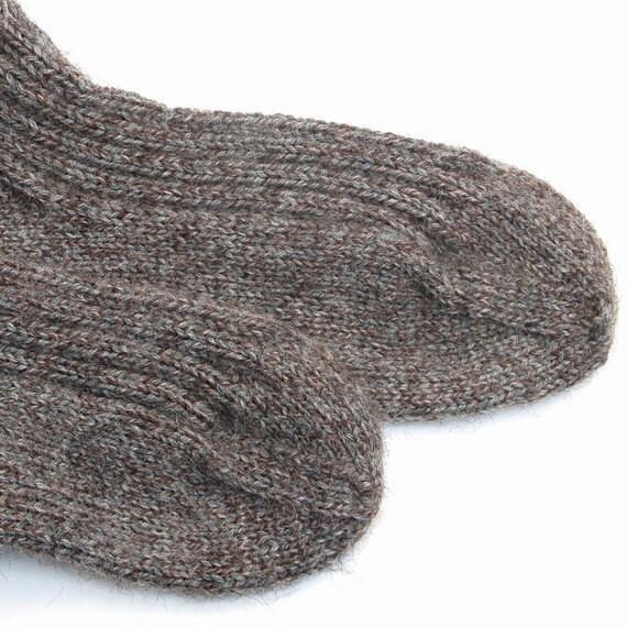 Wool Socks Handknit Unisex Ribbed Gray Brown Heather