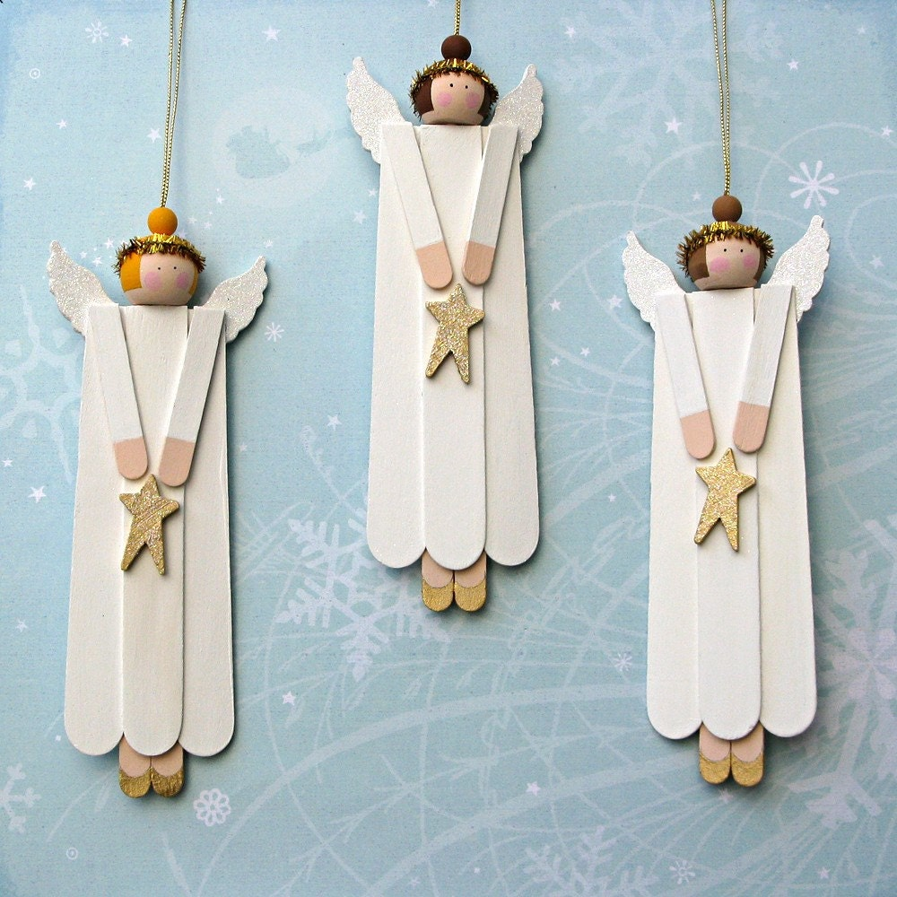 Angel wood christmas ornaments set of