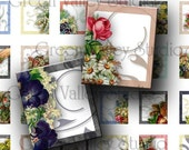 INSTANT DOWNLOAD Digital Images Collage Sheet Floral Vintage Flowers Swirls .75 x .873 Inch for Scrabble Tile Pendants Magnets Crafts (S60)