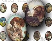 Digital Art Images Collage Sheet - Vintage Dogs - Dog - Animals - 18 x 25 mm Ovals for Pendants - Scrapbooking - Crafts (O23)